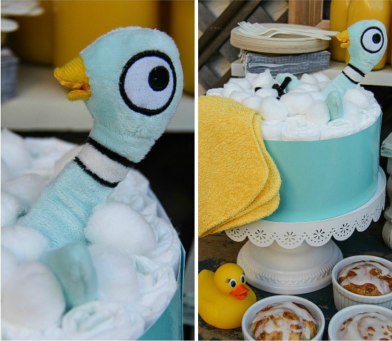 instructions to make a pigeon themed diaper cake