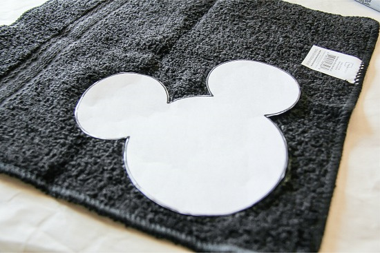 a mickey mouse template on a black towel