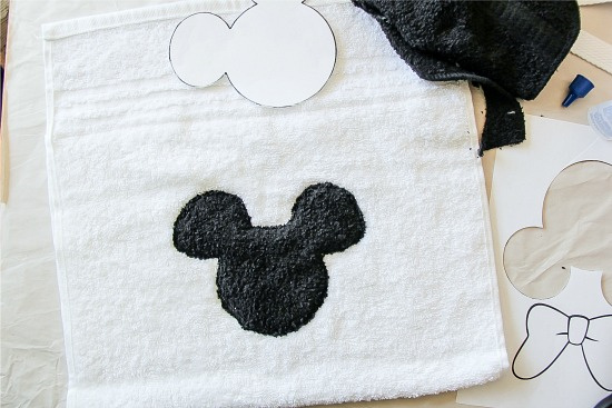 black mickey mouse sewn onto a white towel