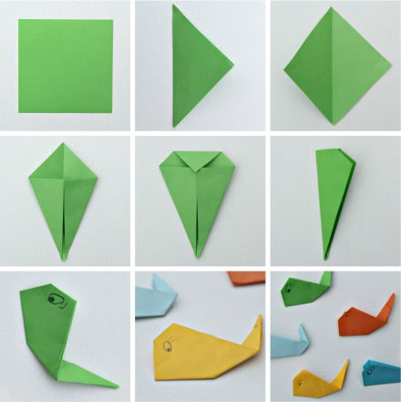 step-by-step instructions for making origami whales