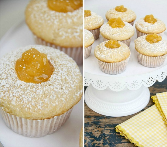 vanilla muffins with lemon curd filling on a white cake stand