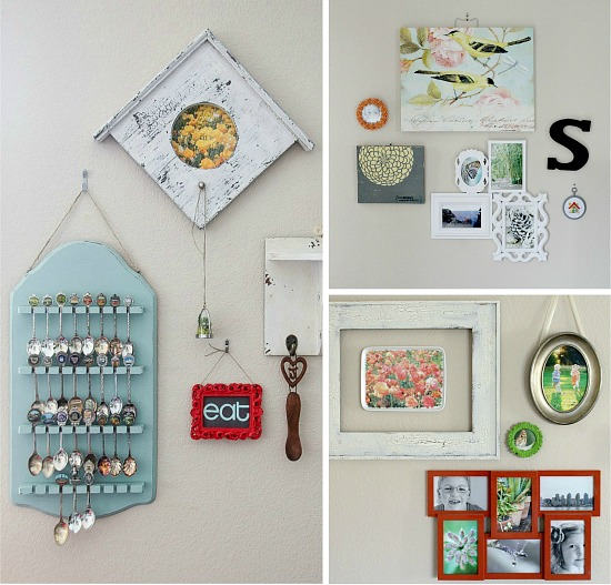 collage of mini gallery walls in a home