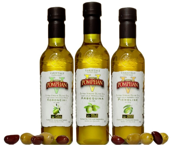 3 flavors of Pompeian olive oil