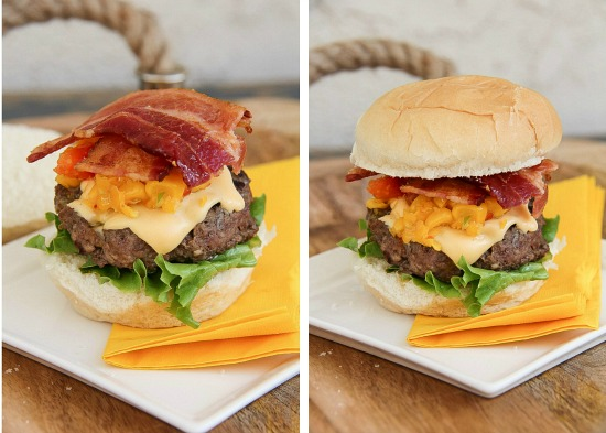 bacon cheeseburger sliders with corn relish on a white plate