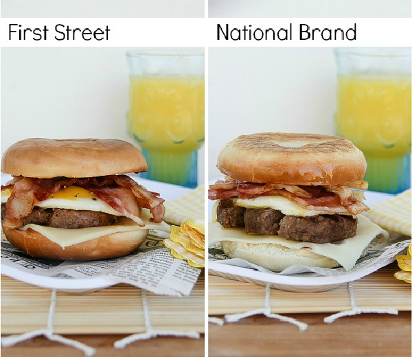 side-by-side photos comparing first street brand food products in a bagel compared to national brands