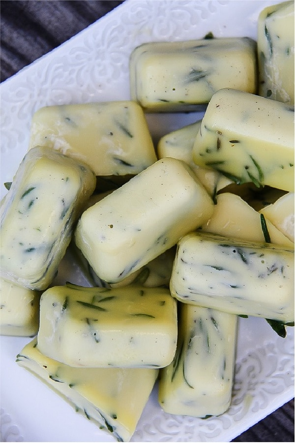 ice cubes of olive oil and fresh rosemary
