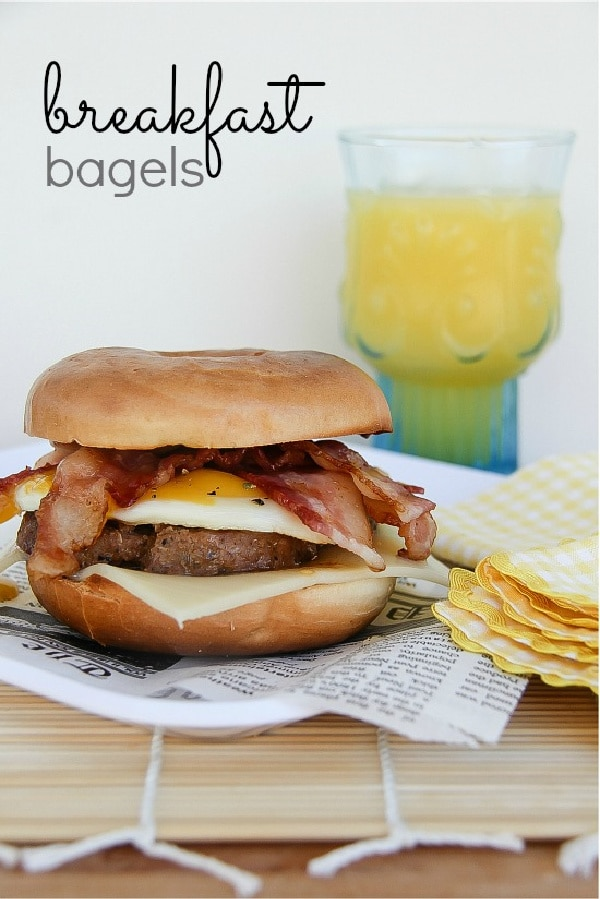 a breakfast bagel with sausage and egg
