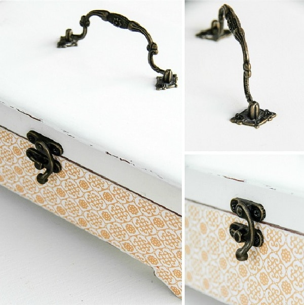 antique hardware being attached to a simple wood storage box