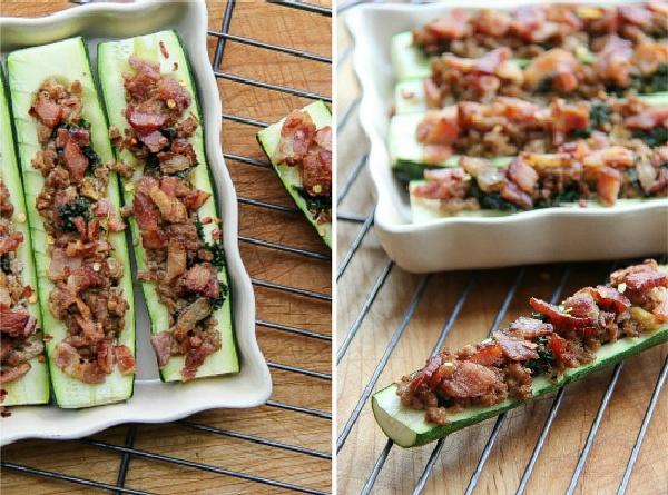 zucchini stuffed witch sausage bacon and kale