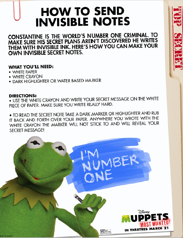 free printable muppets how to send invisible notes pages