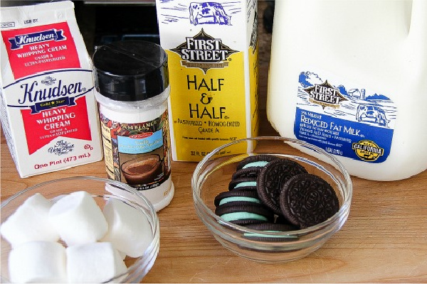 ingredients to make a mint oreo hot chocolate from First Street food products at Smart & Final