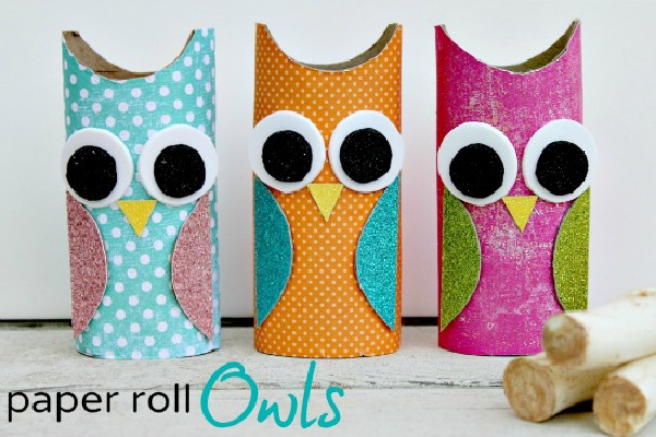 paper rolls made to look like colorful owls