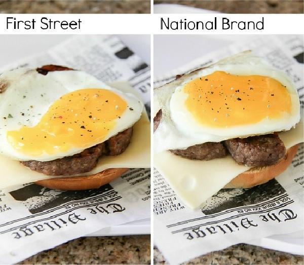 first street eggs on a breakfast bagel