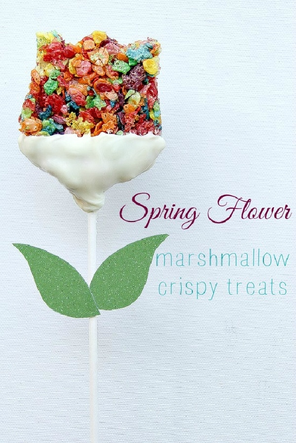 rainbow pebbles flower shaped rice crispy treats on sticks