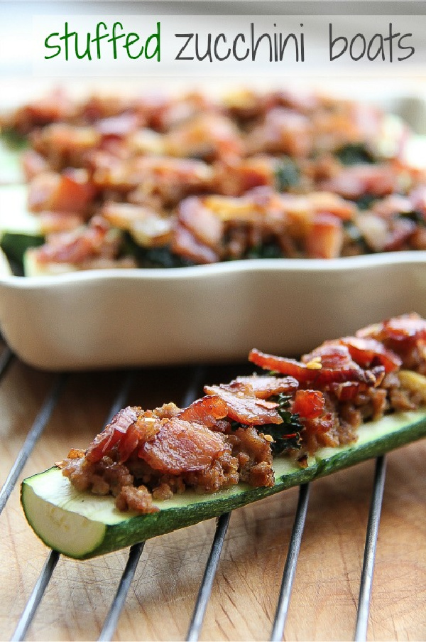 zucchini boats stuffed with sausage and bacon