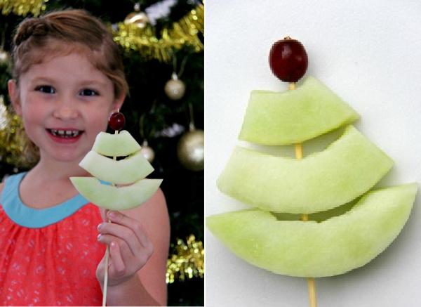 christmas tree melon treat for kids
