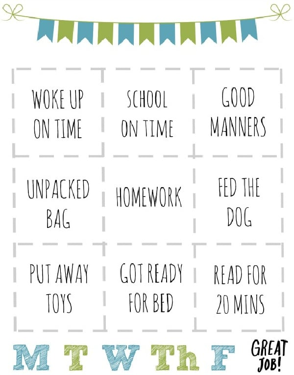 rewards chart for kids for school days
