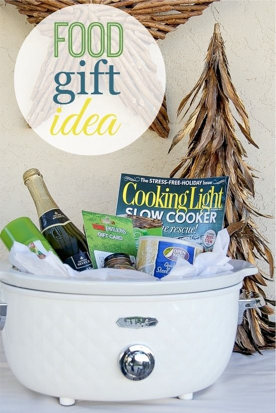 a slow cooker filled with food and wine for gift