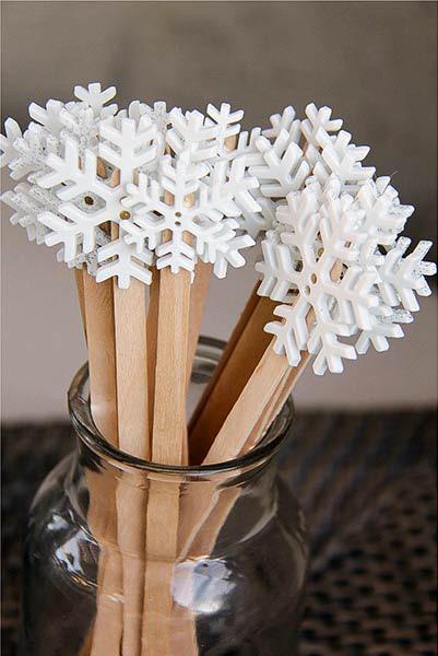 handmade wood snowflake drink stirrers