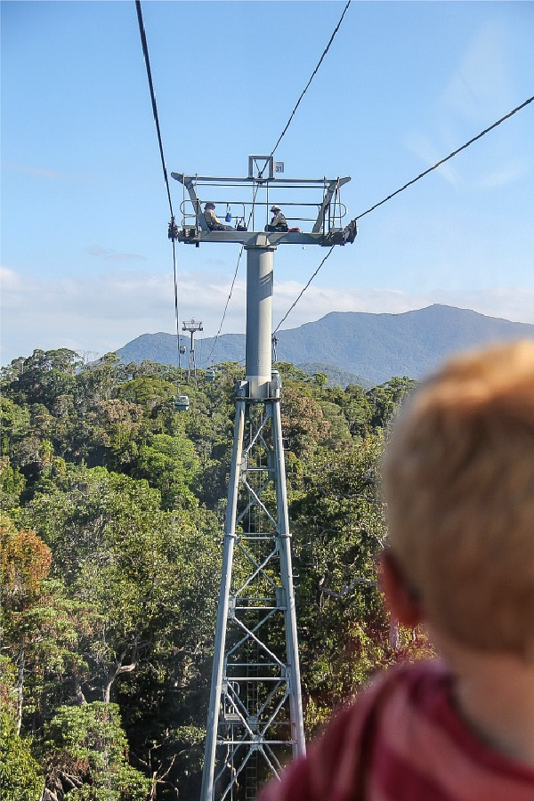 a boy on the kuranda skyrail going over the trees with workmen on top of a platform