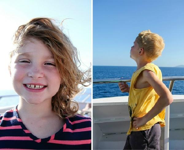 kids on a catamaran