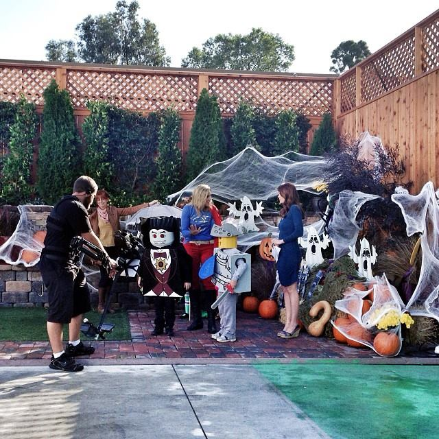 Filming the Halloween kids costume segment at Fox 5 in San Diego