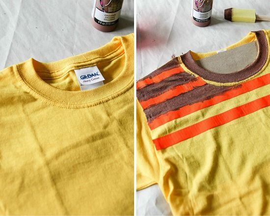 Instructions for painting a yellow t-shirt with brown stripes for an Agnes from Despicable Me costume