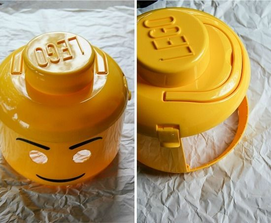 instructions for turning a yellow lego man tub into a costume