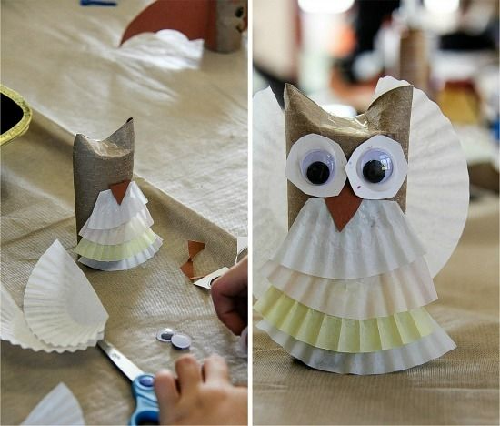 a toilet paper roll owl being made with coffee filters