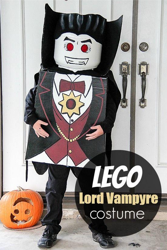 a boy wearing a DIY LEGO Lord Vampyre costume