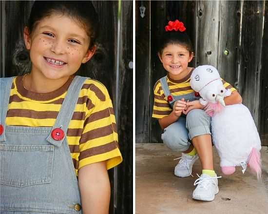 a girl wearing overalls with red buttons like Agnes from Despicable Me