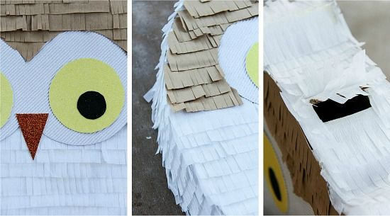up close images of instructions to make an owl pinata