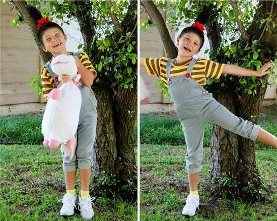 girl wearing a semi handmade Despicable Me Agnes costume for Halloween