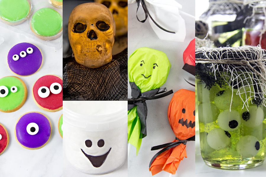 a collage of easy Halloween crafts for kids