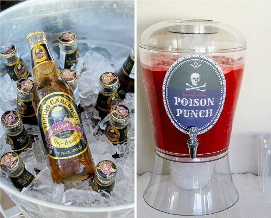 Flying Cauldron Butterscotch Beer and Poison Punch for a Harry Potter Halloween party.