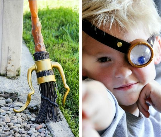 Harry Potter's broomstick and Mad-Eye Moody's eye prop for a Harry Potter party