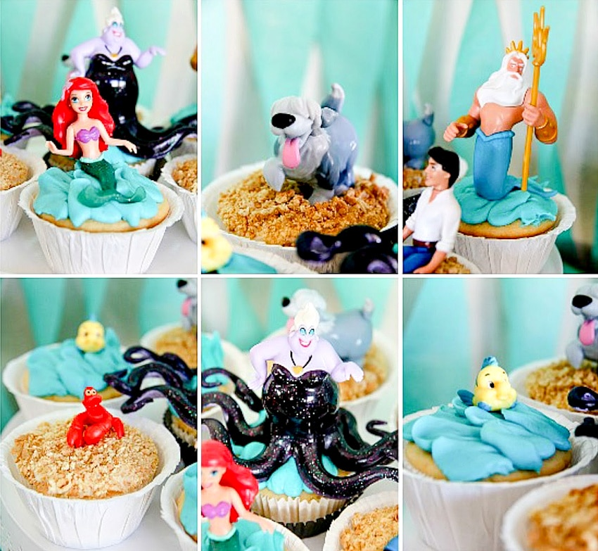 Little Mermaid themed cupcakes decorated with toys.