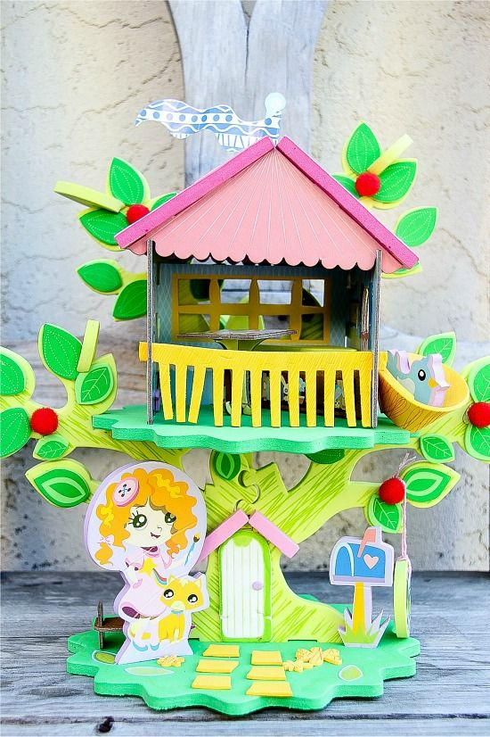 The PomTree Kids interlocking playhouse craft kit for kids.