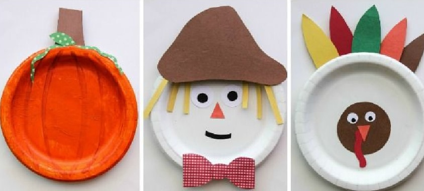 paper plates turned into a pumpkin, scarecrow and turkey