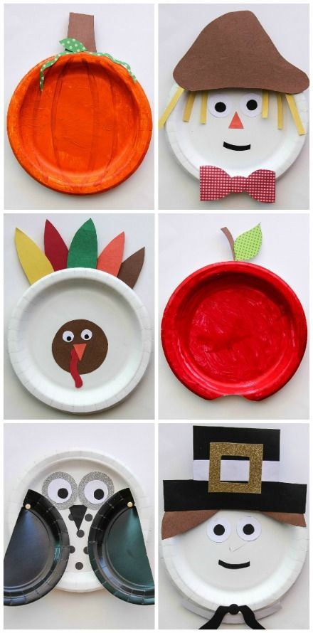 a collage of fall themed paper plate crafts for kids to make