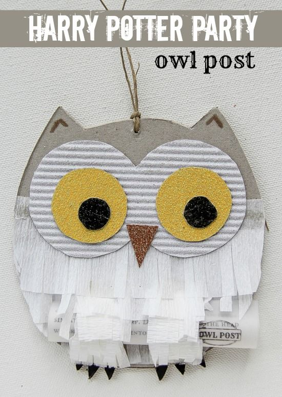 A handmade owl with an invitation to a Harry Potter birthday party.