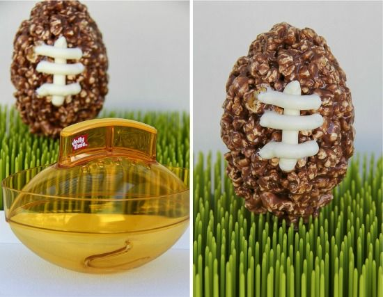 a football shaped popcorn ball and chocolate footballs made with them