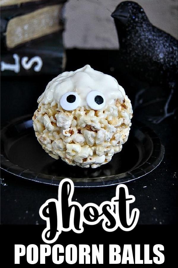 Halloween popcorn balls Pinterest image
