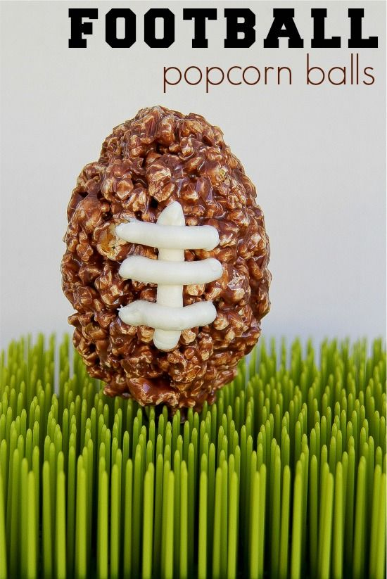 football shaped popcorn balls