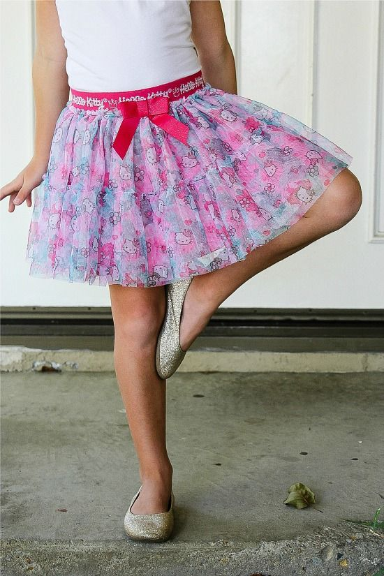 girl wearing a Hello Kitty pink and white tulle skirt
