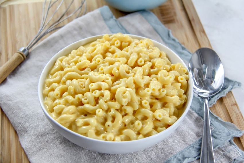 gluten free mac and cheese in a white bowl