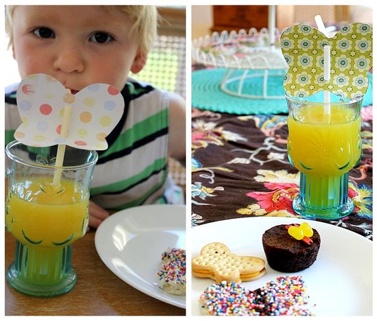 butterfly straws and party food