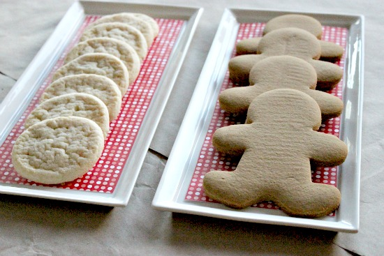 gingerbread men and sugar cookies for holiday cookie decorating with kids