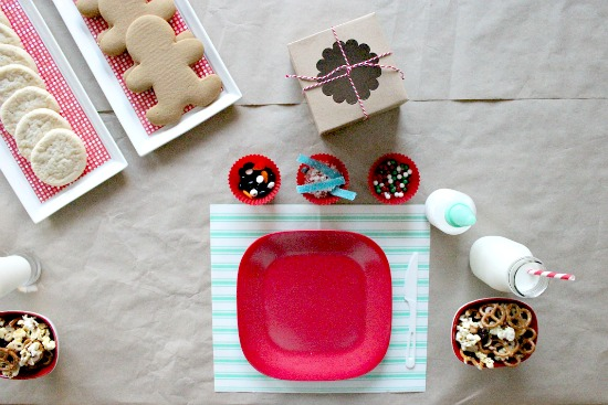 looking down over a cookie decorating tablescape for kids