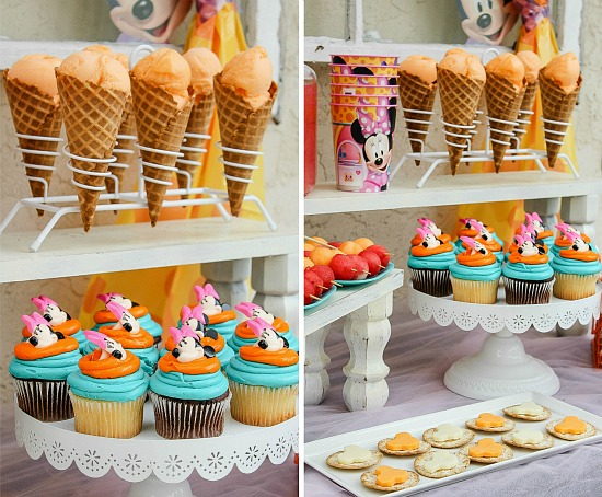 Minnie Mouse party table with cupcakes and fun food